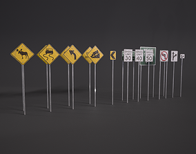 3D asset American Road Signs Pack PBR Game-Ready