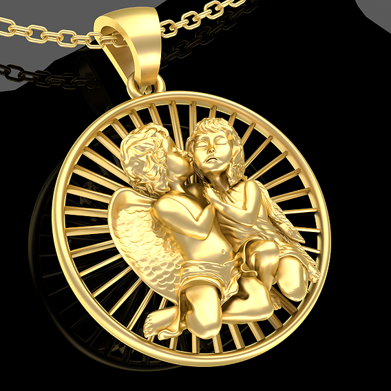 Kissing Angel Pendant Jewelry Gold