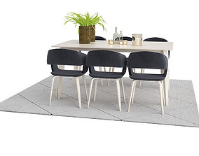 Nordic Odense Dining Table Set with Nordic Flow 3D model