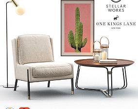 Blink Easy Chair - QT Coffee Table - Emery Floor Lamp 3D