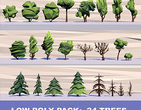 3D asset 24 Trees Pack