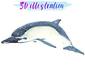 3D model Low Poly Dolphin Illustration Animated - Game 1