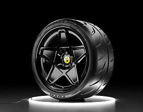 3D model Car wheel TOYO PROXES R888R tire with HRE 505M