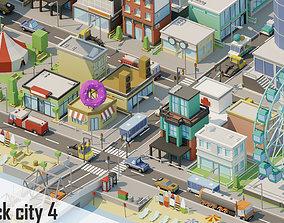 3D asset City low Poly 4 Tile pack