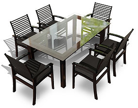Metal Six Seater Dining Set with Tempered Glass 3D model