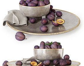 Plums on a plate 3D