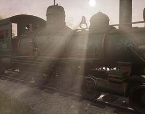Steam Train 3D model VR / AR ready