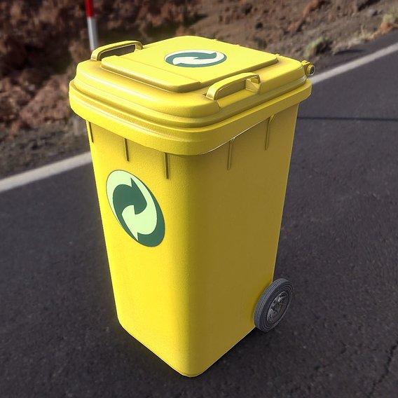 Yellow Plastic Waste Bin 240 Liters 1075x515x582