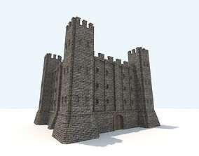Medieval fortress interior and exterior 3D
