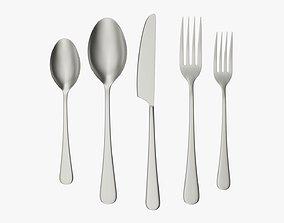 Flatware set 03 knife forks spoons 3D