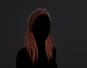 Hair medium red 3D asset