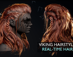 3D asset Game Hair Viking Real-Time Hairstyle