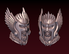 3D printable model Viking head with winged helmet