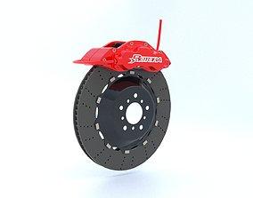3D model Car brake disc and caliper