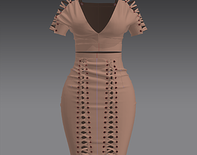 Suede sexy dress Marvelous designer 3D