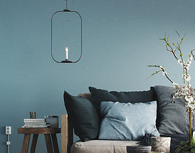 Realistic Scandinavian Interior Living Room Set-Sofa 3D