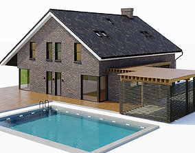 3D model Large cottage with a canopy and a swimming pool