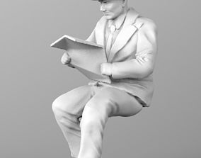 old man 3d model newspaper