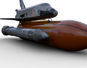 3D Space Shuttle with Tanks for maya