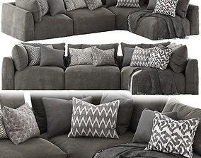 Globewest Cove Seamed Sofa Grey 3D