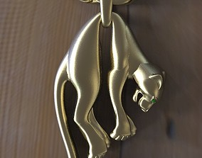 3D print model gold panther pendant