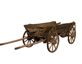 Cart with wood and ropes 3D asset