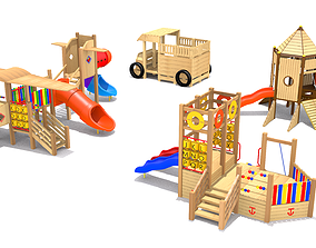 Playground- Wooden Vehicle Play 3D model