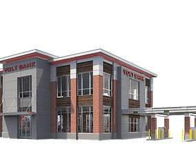 Commercial Building-025 Bank With Drive-thru 3D