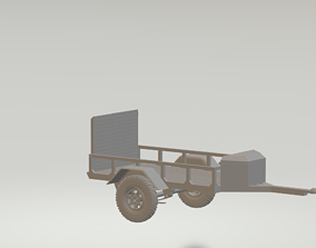 3D printable model scale utility trailer