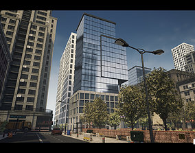3D model Modern City Downtown with Interiors Megapack -