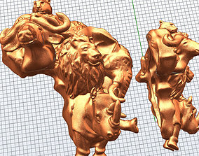 3D print model Big 5 with Africa