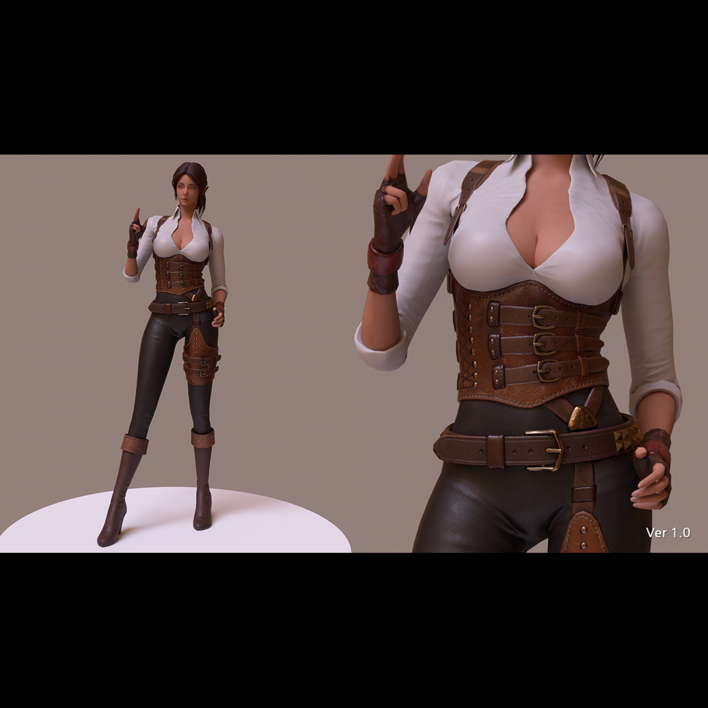Jena The Elf Ranger PBR Game Ready VR AR Female Character Low-poly 3D model