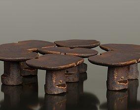 3D model Headrest Africa Wood Furniture Prop 16