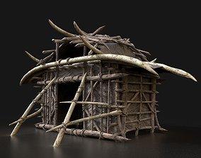 Orc Orcish Primal Fantasy Camp Cottage House 3D asset 2