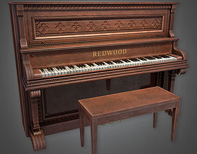 Saloon Piano Dive Bar - PBR Game Ready 3D model