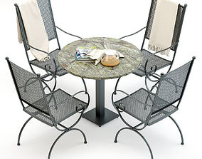 3D Wrought Iron Chair and Table Set