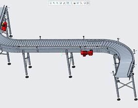 S-turn roller conveyor line 3D print model