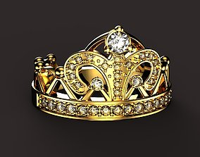 3D printable model beauty Crown ring