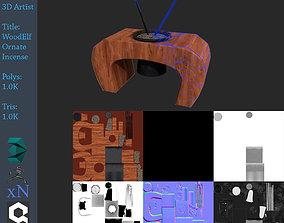 Ornate WoodElf Incense 3D asset VR / AR ready