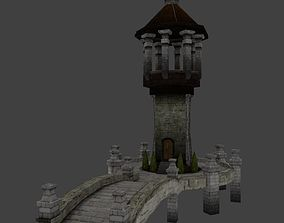 Medieval Low poly Bridge and Watchtower 3D asset