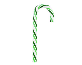 Candy cane green and white 3D model