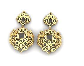 3D print model simple earrings with peacock