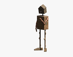 3D model Lowpoly wooden man bird cage and nest