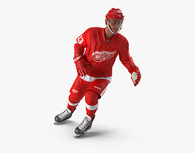 Hockey Player Detroit Red Wings Rigged 3D model