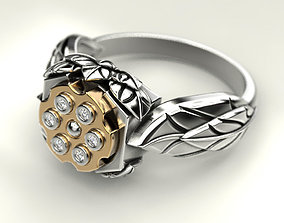 Woman ring revolver with bullet 3D print model