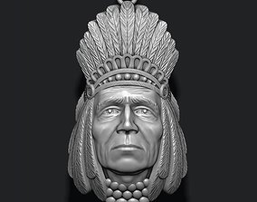 Native American Indian head pendant 3D printable model