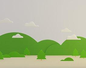 Forest Nature Mountain Scene In Winter Season 3D model