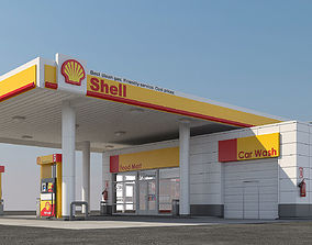 3D Gas station Shell 3