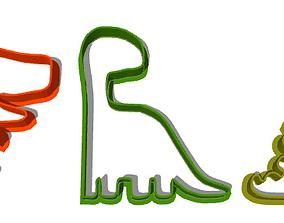 dinosaur Combo 3 Dinosaur Cookie cutter 3D print model