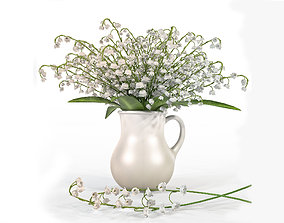 3D Convallaria majalis flowers in jug